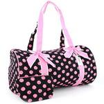 Large Quilted Polka Dot Duffle Bag w/ Bonus Makeup Bag - Black/Pink