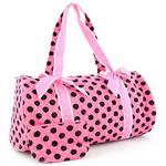 Large Quilted Polka Dot Duffle Bag w/ Bonus Makeup Bag - Pink/Brown