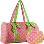 Large Quilted Polka Dot Duffel Bag w/ Bonus Makeup Bag - Pink/Green
