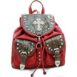 Western floral embossed 2 tone backpack bag w/ rhinestone cross - red