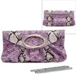 Women Vani Purple Purse Python Clutch Evening Bag