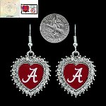 Dangling Heart Shape w/Stone Earrings- University of Alabama