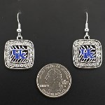 Square Dangle Zebra Print Earrings- University of Kentucky