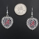 Zebra Print Heart Dangle Earrings- Alabama Crimson Tide