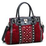 Rhinestone Lock & Studded Leopard Satchel w/ Bonus Shoulder Strap - Red