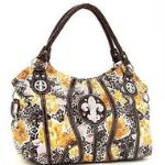 Animal & flower print hobo bag w/ rhinestone fleur de lis - Mustard
