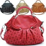 Fleur de lis embossed satchel bag w/ detachable strap