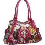 Animal & flower print rhinestone fleur de lis shoulder bag handbag - Red