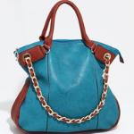Two Tone Chic Carrying Tote w/ Additional Chain Strap - Dark Blue/Brown