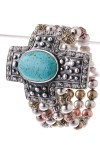 Stone Cross Metal Bracelet- Antique Silver/Multi