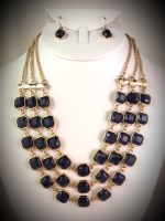 Layered Stone Bib Necklace Set