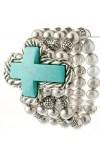 Turquoise Stone Cross Bracelet