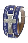 Quote Printed Wrap Bracelet- Blue