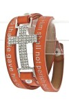 Quote Printed Wrap Bracelet- Orange