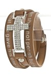 Quote Printed Wrap Bracelet- Tan