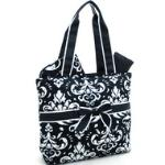 Quilted Damask Print 3pc Diaper Bag w/ Ribbon Accents - Black Trim