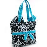 Quilted Damask Print 3pc Diaper Bag w/ Ribbon Accents - Blue Trim