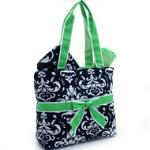 Quilted Damask Print 3pc Diaper Bag w/ Ribbon Accents - Green Trim