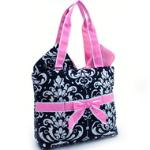 Quilted Damask Print 3pc Diaper Bag w/ Ribbon Accents - Pink Trim
