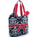 Quilted Damask Print 3pc Diaper Bag w/ Ribbon Accents - Red Trim