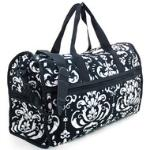 Quilted Damask Print Duffel Bag w/ Bonus Makeup Bag - Black Trim