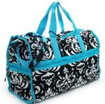 Quilted Damask Print Duffel Bag w/ Bonus Makeup Bag - Blue Trim