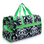 Quilted Damask Print Duffel Bag w/ Bonus Makeup Bag - Green Trim