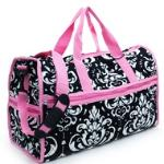 Quilted Damask Print Duffel Bag w/ Bonus Makeup Bag - Pink Trim