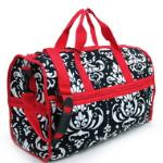 Quilted Damask Print Duffel Bag w/ Bonus Makeup Bag - Red Trim