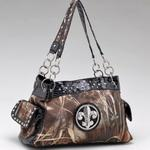 Real Tree camouflage Fleur de Lis accent shoulder bag handbag - Black