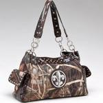 Real Tree ® camouflage Fleur de Lis accent shoulder bag handbag - Coffee