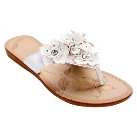 Floral Summer Sandals with Rhinestone Accents