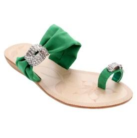 Toe-ring Summer Sandals w/ Rhinestone Accents