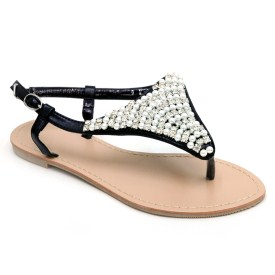 Summer Sandals Embellished with Pearls and Rhinestones