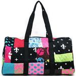 Women's Large Patchwork Quilted Duffle Bag w/ Bonus Makeup Bag - Black/White