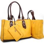 Two-Toned 2-in-1 Tote Bag w/ Attached Coin Pouch - Yellow/Brown