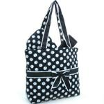 Quilted White Polka Dotted 3pc Diaper Bag w/ Ribbon Accents - Black