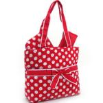 Quilted White Polka Dotted 3pc Diaper Bag w/ Ribbon Accents - Red