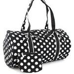 Large Quilted Polka Dot Duffle Bag w/ Bonus Makeup Bag - Black/White