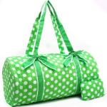 Large Quilted Polka Dot Duffle Bag w/ Bonus Makeup Bag - Green/White