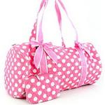 Large Quilted Polka Dot Duffle Bag w/ Bonus Makeup Bag - Pink/White