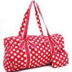 Large Quilted Polka Dot Duffle Bag w/ Bonus Makeup Bag - Red/White