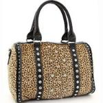 Rhinestone Studded Leopard Satchel w/ Bonus Shoulder Strap - Beige/Brown