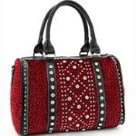 Rhinestone Studded Leopard Satchel w/ Bonus Shoulder Strap - Red