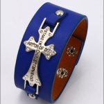 Ephesians 6 11 Blue Faux Leather Cross Bracelet