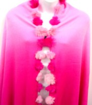 Pink Rabbit Fur Balls Two Tone Shawl